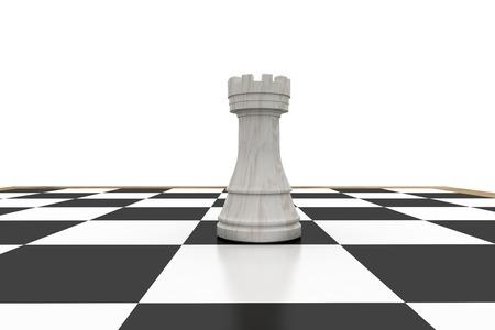bishop: White bishop on chess board on white background Stock Photo