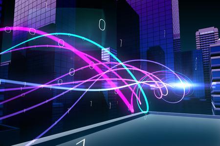 light wave: Digitale generato un'onda luminosa viola su grattacieli
