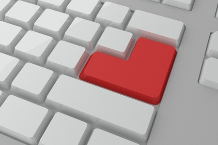 digitally  generated: Digitally generated red enter button on keyboard