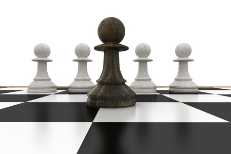 traitor: Black pawn in front of white pawns on white background Stock Photo