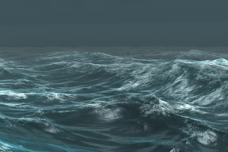 Digitaal gegenereerde ruwe blauwe oceaan onder donkere hemel