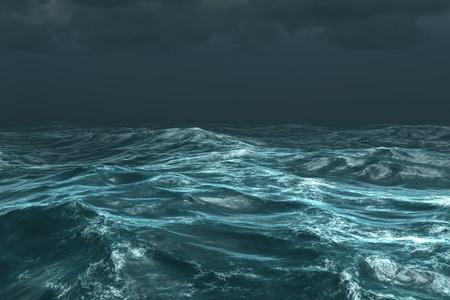 Digitally generated rough stormy ocean under dark sky Stockfoto