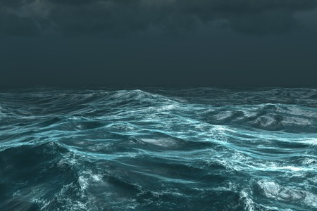 Digitally generated rough stormy ocean under dark sky Imagens