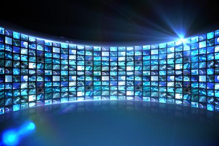 Digitally generated Curve of digital screens in blue
