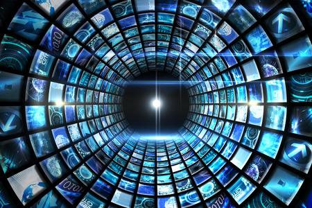 Digitally generated Vortex of digital screens in blue