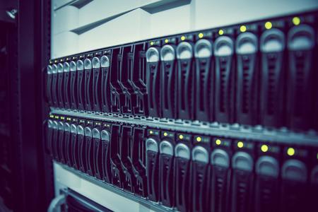 usb port: Black rack mounted server tower in large data center Stock Photo
