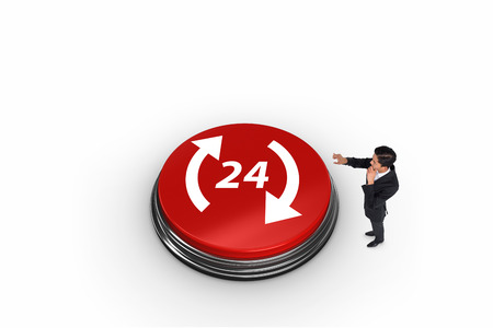 Thoughtful asian businessman pointing against twenty four and arrows on white graphic background photo