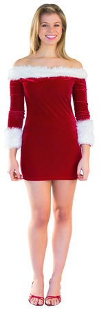 pere noel sexy: Jolie jeune fille souriante � santa costume sur fond blanc