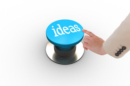 The word ideas and businesswoman pointing against white background photo