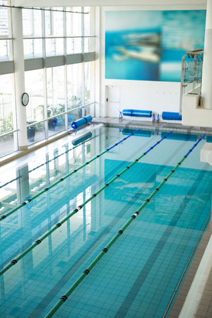 lane marker: High angle shot of empty swimming pool at the leisure center
