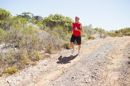 adventuring: Fit man jogging down mountain trail on a sunny day