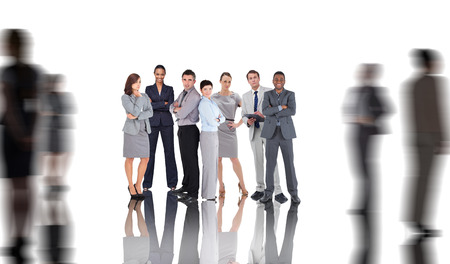 Business people with silhouettes of business people photo