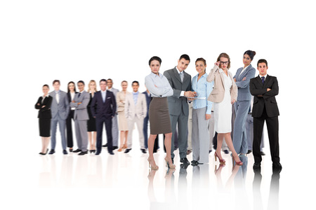 Composite image of business people on white background photo