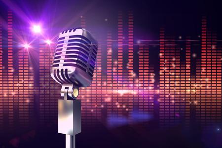 Retro microphone chrome contre la conception de la lumière disco généré numériquement