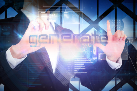 generate: Businesswoman presenting the word generate against room with large window looking on city Stock Photo