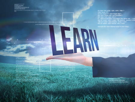Businesswomans hand presenting the word learn against blue sky over green field photo