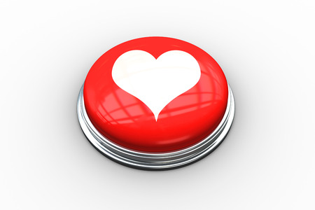 composite image: Composite image of heart on digitally generated red push button