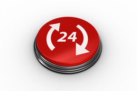 24 off: Composite image of twenty four and arrows on digitally generated red push button