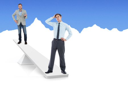 White scales weighing businessmen on white and blue background photo