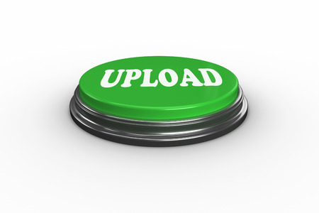 uploading: The word upload on digitally generated green push button