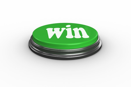 triumphant: The word win on digitally generated green push button
