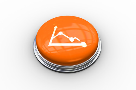 composite image: Composite image of graph graphic on shiny orange push button Stock Photo
