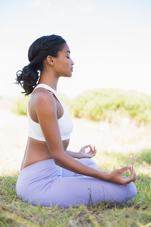 eye's closed: Fit woman sitting on grass in lotus pose with eyes closed on a sunny day in the countryside