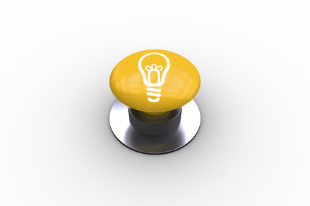 composite image: Composite image of light bulb graphic on yellow push button Stock Photo