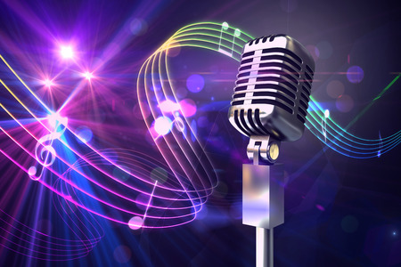 disco party: Retro chrome microphone against digitally generated music symbol design