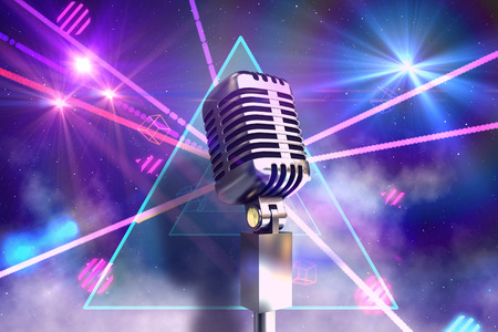 laser lights: Retro chrome microphone against digitally generated laser lights background Stock Photo