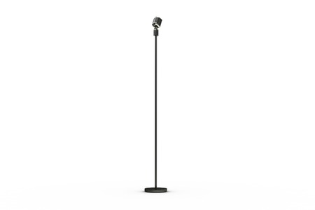 Digitally generated retro microphone on stand on white background Stock Photo