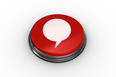 composite image: Composite image of speech bubble graphic on red push button