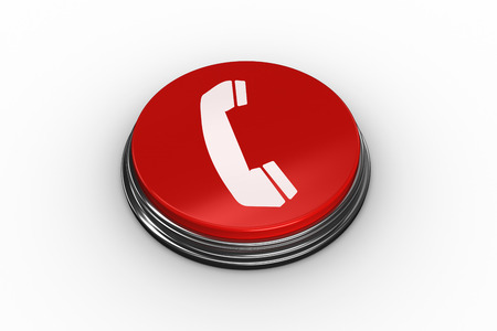 composite image: Composite image of telephone on digitally generated red push button