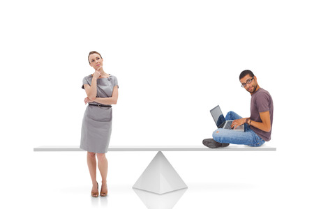 White scales measuring businesswoman and man on white background photo