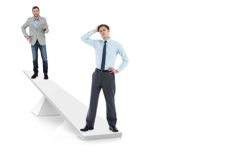 White scales weighing businessmen on white background photo