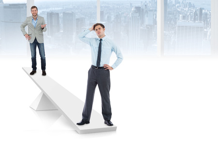 White scales weighing businessmen in white room overlooking city photo