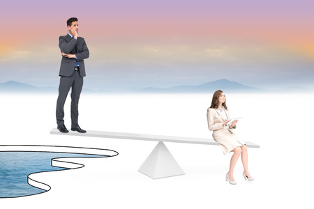 White scales weighing businessman and businesswoman over pool of water photo
