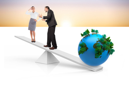 White scales weighing business people and earth with orange sky photo