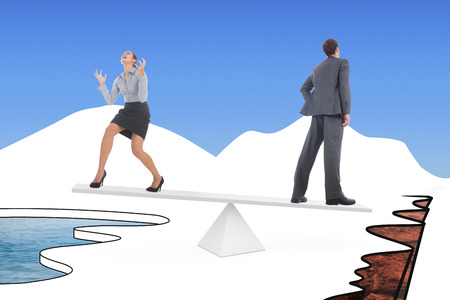 cliff edge: White scales weighing businessman and businesswoman over cliff edge and water on either side