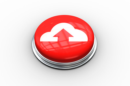 composite image: Composite image of cloud computing on digitally generated red push button Stock Photo