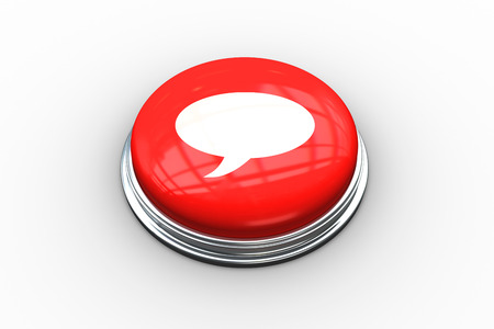 composite image: Composite image of speech bubble on digitally generated red push button