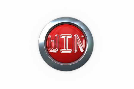 triumphant: Win on digitally generated red push button against white background Stock Photo