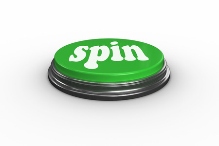 spin: The word spin on digitally generated green push button
