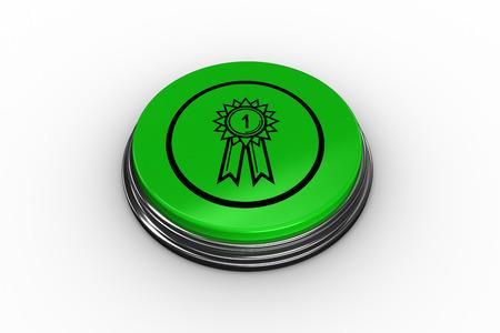 primer lugar: En primer lugar gr�fico insignia en bot�n verde generada digitalmente