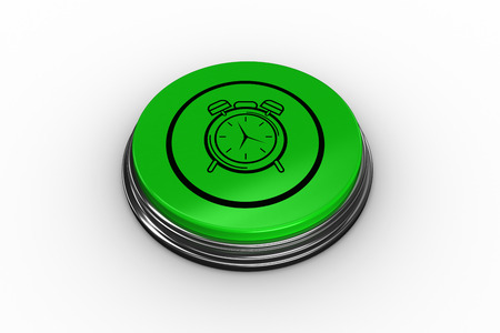face off: Alarm clock graphic on digitally generated green push button