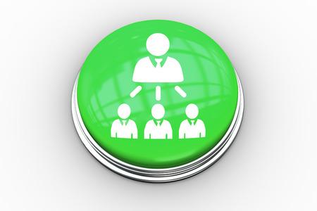 organisational: Company organisational chart graphic on digitally generated green push button