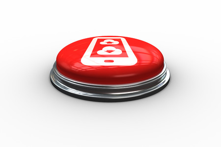 Cloud computing on tablet graphic on digitally generated red push button photo