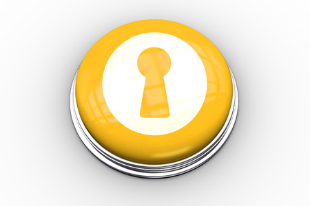 composite image: Composite image of keyhole graphic on yellow push button Stock Photo