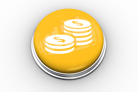composite image: Composite image of coins graphic on yellow push button
