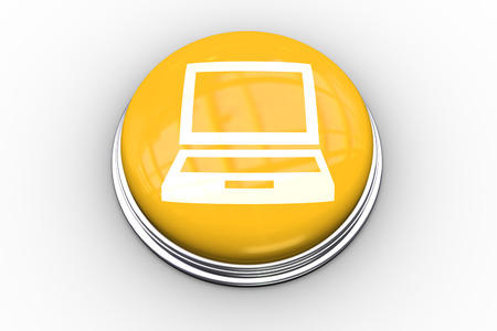 composite image: Composite image of laptop graphic on yellow push button